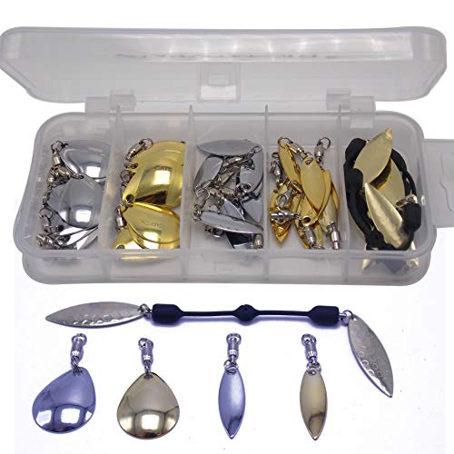 CATCHSIF 37pcs Soft Rotating Link line and Ball Bearing swivels with Willow and Colorado Blades Fishing Lures Customization Box