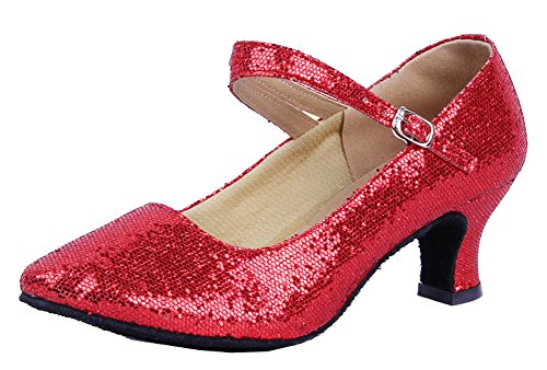 Honeystore Women's Soft Ground Mary Jane Glitter Dance Shoes Red 6.5 B(M) US by Honeystore