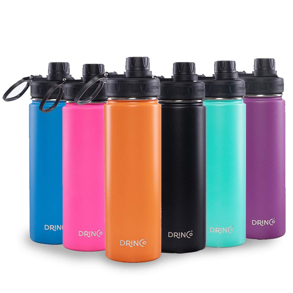 Drinco - Stainless Steel Water Bottle Flask Water Bottle   Double Wall Vacuum Insulated Water Bottle   Perfect For Traveling Camping With Spout Lid   Orange   Bpa Free   20 Oz