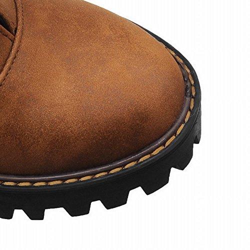 Mee Shoes Damen chunky heels Plateau runde Schnürschuhe Gelbbraun