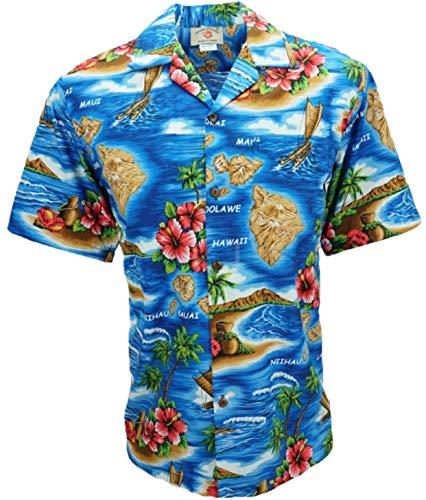 Tropical Luau Beach Cotton Print Men's Hawaiian Aloha Shirt (3X-Large, Flower Map Deep Blue) ()