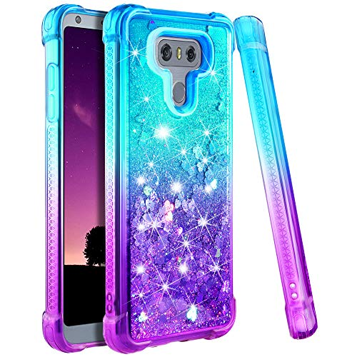 LG G6 Case, LG G6 Glitter Case, Ruky Gradient Quicksand Series Bling Sparkly Flowing Liquid Floating Soft TPU Bumper Cushion Reinforced Corners Women Girls Cute Case for LG G6 (Aqua Purple)