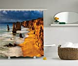 Ambesonne Seaside Decor Collection, Twelve Apostles Australia Sunset Great Ocean Road Coast Cliff by Sea Picture, Polyester Fabric Bathroom Shower Curtain, 84 Inches Extra Long, Gold Navy
