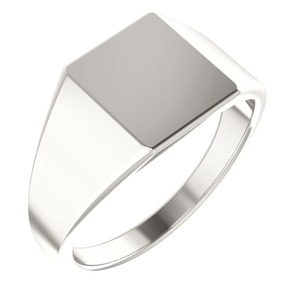 Men's Hollow Rectangle Signet Ring, Sterling Silver (11X10MM) Size 11.5