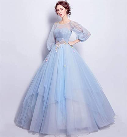 Amazon Com Elegence Z Wedding Dress Light Blue Round Neck Long
