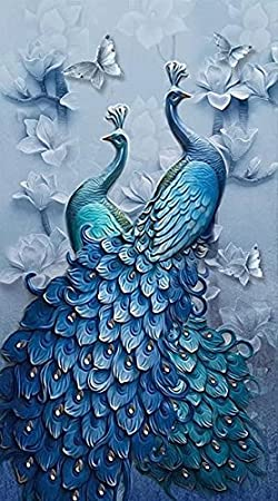 Full Drill DIY Diamond Painting Two Peacok Full Drill Diamond Crystal Cross Stitch Mosaic Rhinestone Embroidery Kits Arts for Home Decoration