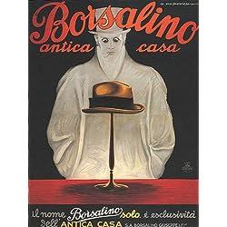 FASHION ITALIAN HAT BORSALINO ANTICA CASA ITALIA ITALY VINTAGE POSTER REPRO
