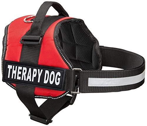 Industrial Puppy Therapy Dog Harness with Hook and Loop Straps and Handle - Harnesses in 7 Sizes from XXS to XXL - Therapy Dog in Training Vest Features Reflective Therapy Dog Patch (Red, XL)