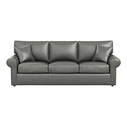 Exceptionnel Ethan Allen Retreat Roll Arm Leather Sofa, 93u0026quot; Sofa, Omni Charcoal Top