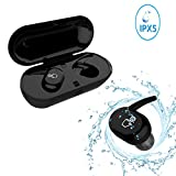 Touch Wireless Earbuds for iPhone8 - WiFun IPX5 Waterproof Bluetooth Earphones for Running, Headset with Twins Stereo,V4.1,MIC,Charging Case, Sport Headphones More Comfortable,More Fit,More Stable (9100 Black)
