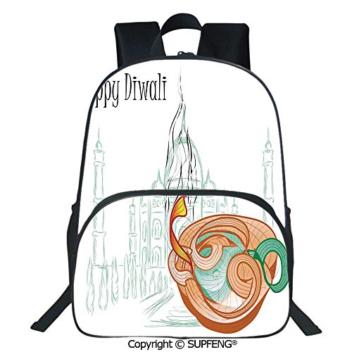 SCOXIXI Square Front Bag Backpack Abstract Palace Taj Mahal Like Sketch with Modern Festive Fire Candles Print (15.75