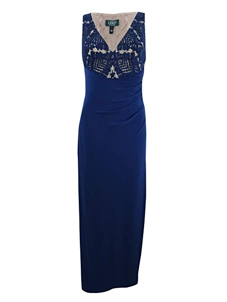 c70a6607995 LAUREN RALPH LAUREN Womens Fleaurbelle Lace Illusion Evening Dress Blue 4