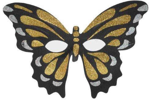 Forum Mardi Gras Costume Masquerade Glitter Butterfly Half Mask, Gold/Black, One Size