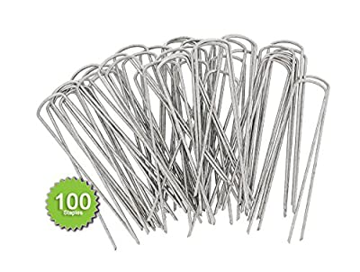 7Penn Landscape Stakes 100-Pack – Galvanized Steel Garden Staples – Lawn Sod Edging Pegs, Yard Landscaping Anchor Points