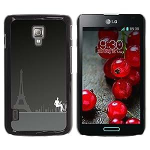 TopCaseStore / la caja del caucho duro de la cubierta de protección de la piel - Paris Cafe Art Eiffel Tower City Coffee Painting - LG Optimus L7 II P710 / L7X P714
