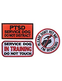 3 Pcs Service Dog Morale Badge Embroidereed Dog Patches Working in Training Do Not Touch Hound Travel Hiking Backpack Saddlebags/Morale Service Dog Patches for Pet Tactical Harness Vest DBG1-3P-2