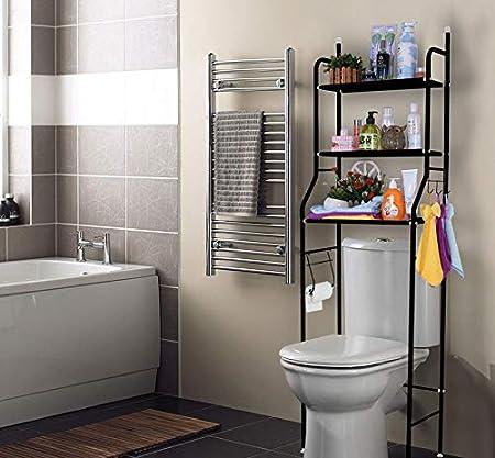 Black 3-Tier Black Over Toilet Storage Unit Solid Stable Bathroom Storage Rack Shelf Saving Organizer with 2 Hooks for Bathroom 5026158cm Liwes Over The Toilet Storage Cabinet