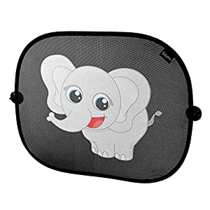 Elephant design Protective Siluno Sun Shade for Car Side Window Car Sun Protector with Suction Cups for Children Baby Adults Roof Window Sun Visor Black UV – With 2 Year
