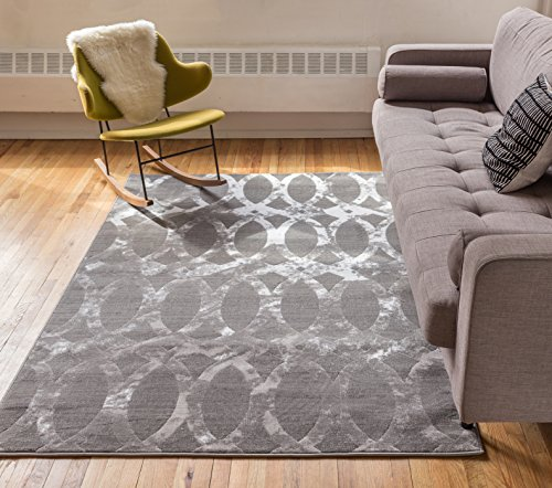 Delilah Grey Moroccan Lattice Vintage Modern Casual Traditional Trellis 5x7 ( 5' x 7'2'' ) Area Rug Thick Soft Plush Shed Free - Traditional Lattice