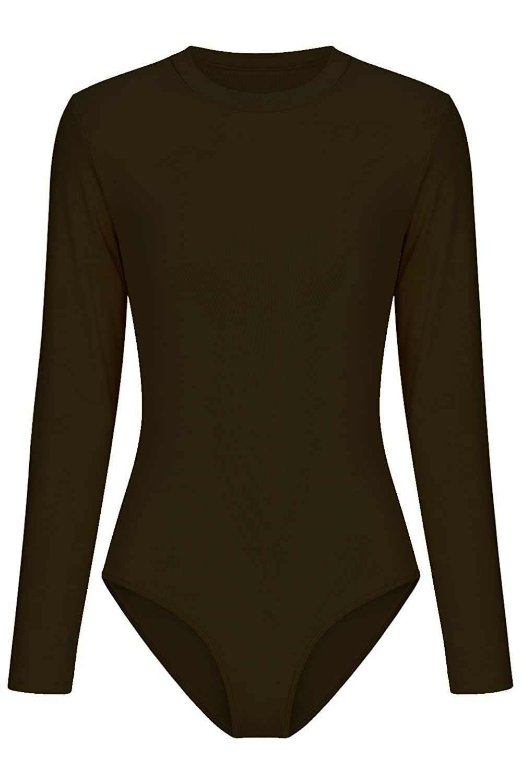 Mulisky Women/'s Round Neck/Long Sleeve Bodysuit Basic Leotard Jumpsuit Tops