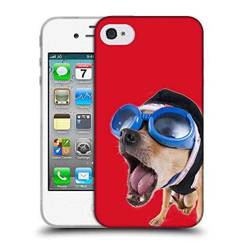 GoGoMobile Coque de Protection TPU Silicone Case pour // Q05640624 Chihuahua bobble Cadmio Red // Apple iPhone 4 4S 4G