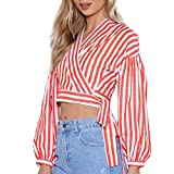 Alixyz Blouse Clearance ! Womens Long Sleeve Strips Corp Tops Tie Side Bandage Office Shirts