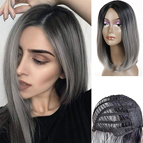 Feelgrace Ombre 1B Gray Short Straight Wigs for Women Glueless Silver Gray Synthetic Bob Wigs 12Inch 1B Grey