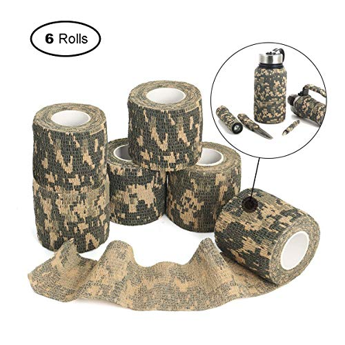 OUTERDO 6 Rolls 14.8x0.16ft Military Camouflage Tape Camo Wrap Outdoor Self-Adhesive Protective Camo Form Non-Woven Fabric Camo Stretch Bandage for Hunting Gun,Firearms,Knives,Flashlight (Green)