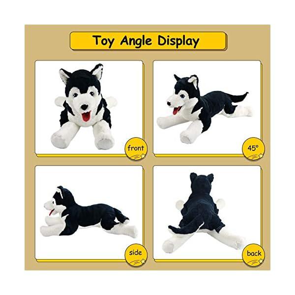 Houwsbaby Large Lifelike Husky Stuffed Animal Soft Dog Plush Toy Cuddly Alaskan Malamute Puppy Gift for Kids Boys Girls Pets Home Decoration Holiday Birthday, 27.5'' (Husky) 2