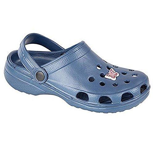 Mujer zuecos de jardín de playa de verano sandalias Flip Flop zapatos de plástico azul - azul marino