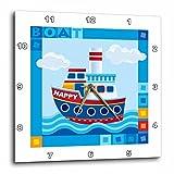 3dRose dpp_200547_2 Boat, Happy Boat, Cute Kids Boat Wall Clock, 13 by 13″