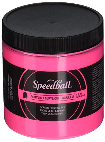 Speedball 1483702 Screen Printing Ink, 8 oz. Capacity, Acrylic, Fluorescent Hot Pink