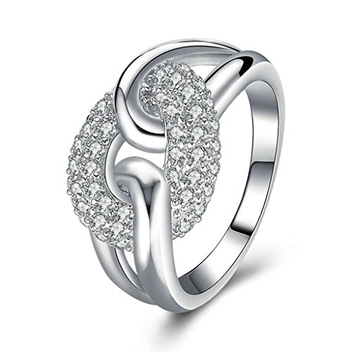 ise Womens Ring 925 Sterling Silver Ring, Knot White Cz Sz 9.5 ()