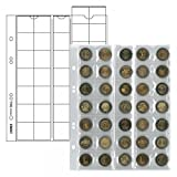 Coin pages UNIVERSAL for 35 coins, 5 pieces [Lindner MU35], Crystal clear coin pages with transparent, softener-free strips