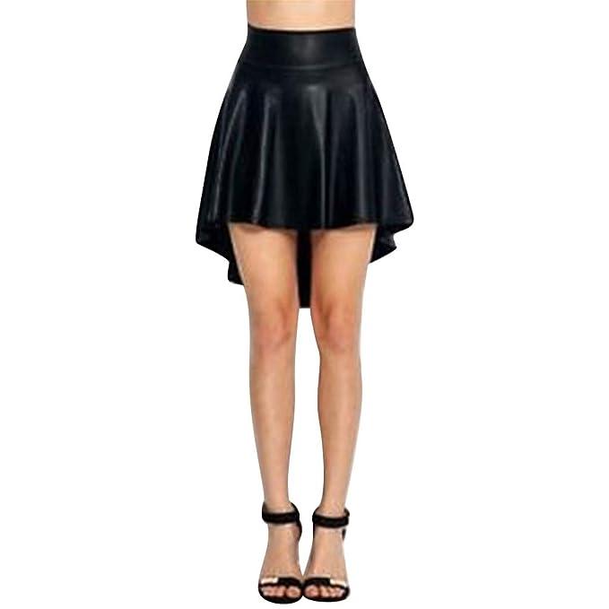Falda Moda Mujer sólido Negro Acanalado asimétrico Informal de ...