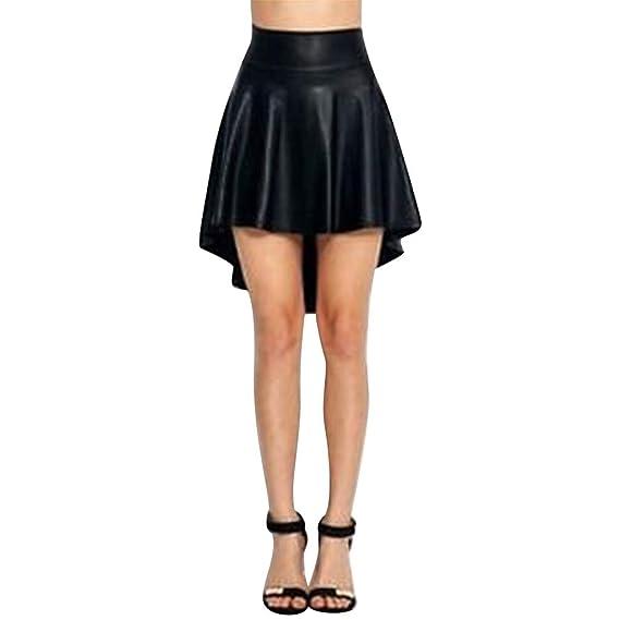 beautyjourney Minifalda Casual de Cuero sintético para Mujer ...
