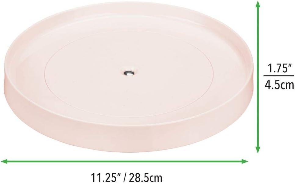 mDesign Plataforma giratoria para cosm/éticos Rosa Claro Base giratoria para ba/ño y Cocina en pl/ástico sin BPA y Acero Inoxidable Organizador de Maquillaje Redondo para cremas y medicinas