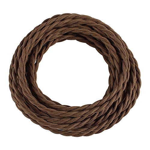 (25ft Fabric Cloth Covered Lamp Twisted Wire,PRUNLLA Vintage 18/2 Industrial Electrical Cord,18-Gauge Antique Style for Retro Lamp,DIY Projects (Chocolate Brown))