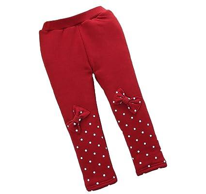 67f7005da742 Pantaloni da bambina in cotone con fiocco in velluto rosso caldo invernale da  bambina  Amazon.it  Prima infanzia