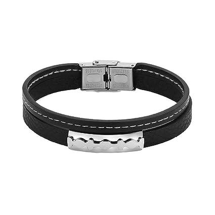 prix le plus bas 452d1 e22c8 Bobury Gravable Bracelet Homme Noir Cuir tressé Bracelet en ...