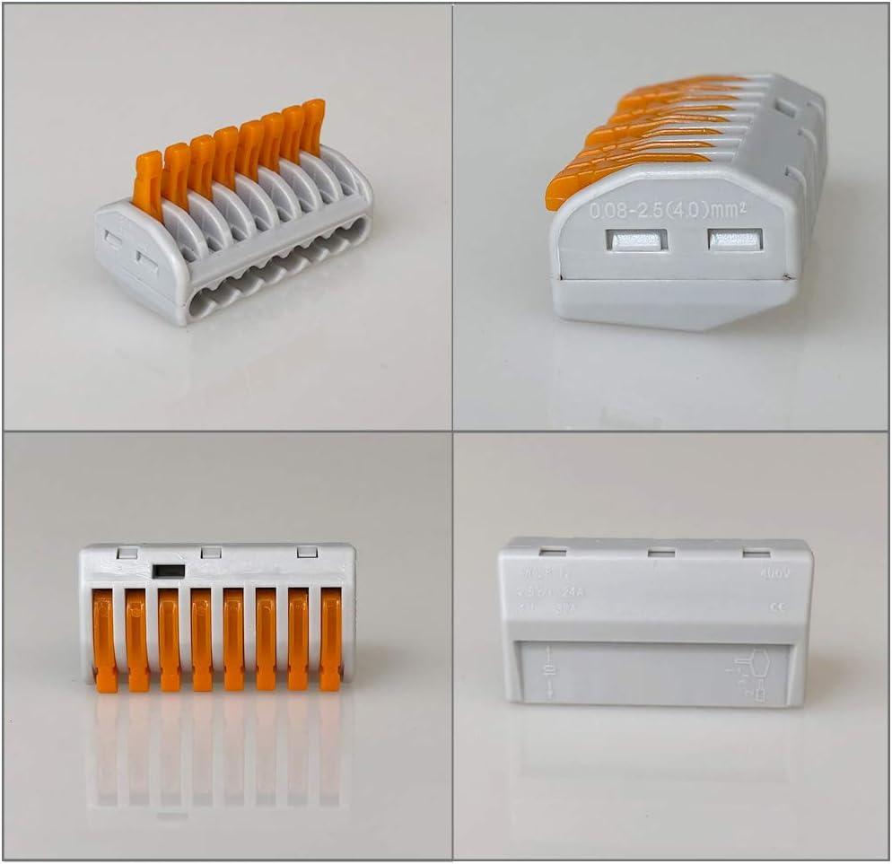Compact Connecteur Ressort Bornier 8 Ports Conducteur Compact Fil Connecteurs QitinDasen 10Pcs Premium PCT-218 Levier-Ecrou Fil Connecteur Set