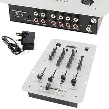 2 Canales Mezclador DJ Ecualizador de 3 Bandas y micrófono Input ...