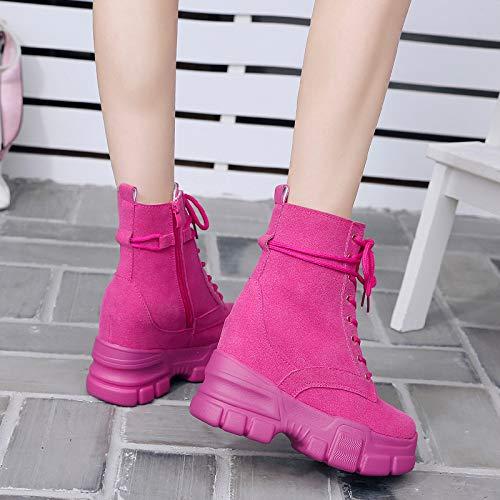KPHY Damenschuhe Kurze Stiefel Winter Britische Wind Baumwolle Innen Erhöht Muffin Martin Stiefel Muffin Erhöht - Stiefel 11Cm Super - Heels Mode - Stiefel. 3c7a12
