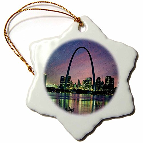 3dRose orn_56145_1 St Louis Missouri Arch at Nite Snowflake Decorative Hanging Ornament, Porcelain, 3-Inch