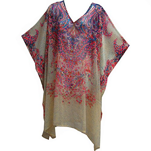 Sequined Caftan - Yoga Trendz Missy Plus Indian Sequined Cover up Caftan Poncho Long Tunic Floral Paisley (Ivory)