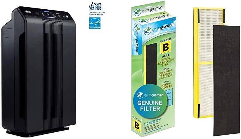 Winix 5500-2 Air Purifier with Carbon Filter & Germ Guardian FLT4825 True HEPA GENUINE Air Purifier Replacement Filter B, 1-Pack