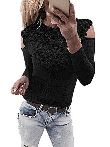Eleganti Senza Tops Trasparente Blusa Nero B Camicia Primavera V Sexy Sciolto Maglia Collo ShallGood Lunga Shirt Manica Maglietta T Schienale Donna Tunica Fq0xTwtI