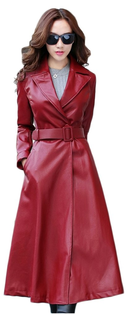 Elezay Women's PU Leather Slim Fit Long Coat Maxi Jacket Red&Polyester 4 by Elezay