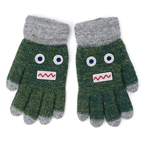 Flammi Kids Winter Stretch Knit Gloves Cartoon Robot Gloves Boys Girls (4-8 Years) (Green)