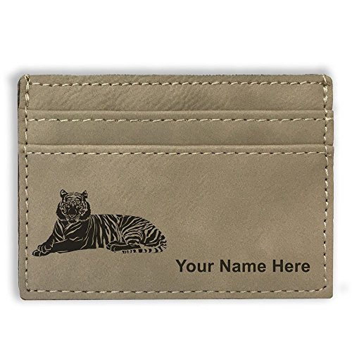 Money Clip Wallet - Tiger - Personalized Engraving Included (Light Brown) Tigers Leather Money Clip